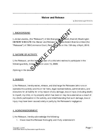 waiver agreement template waiver and release usa templates agreements