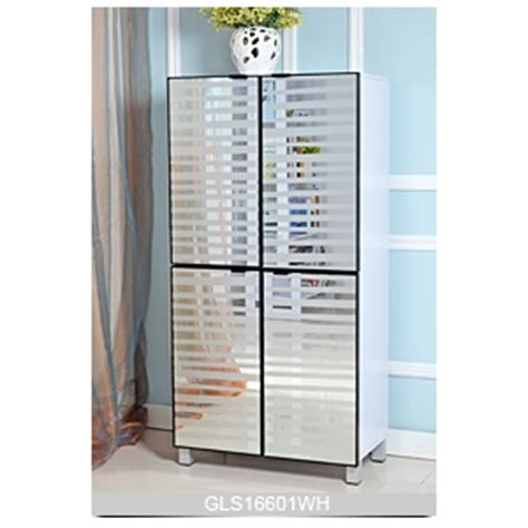 Large Shoe Cabinets With Doors 4 Doors Wooden Shoe Cabinet With Glass Mirror For Large Quantity Shoes Storage