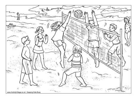 volleyball colouring page coloring pages beach coloring