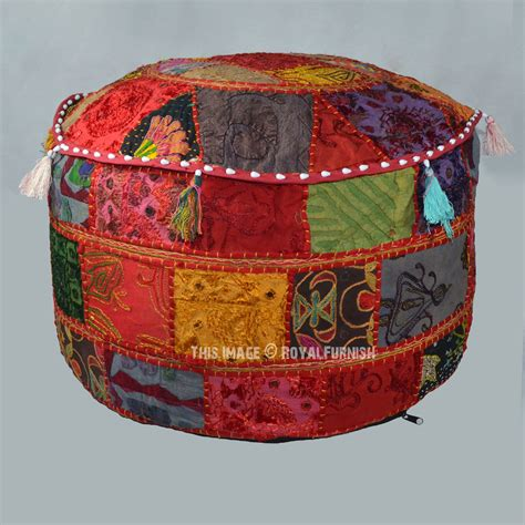 Handmade Ottoman - handmade multi patchwork embroidered appliqued indian