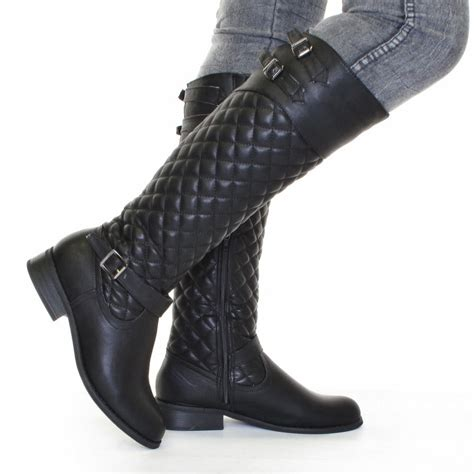 ladies black leather biker boots womens biker boots black leather style quilted size 5 10