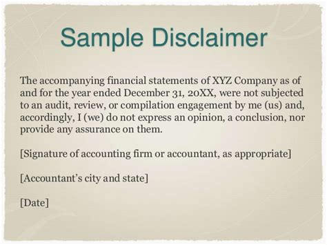 earnings disclaimer template the new preparation of financial statements standard