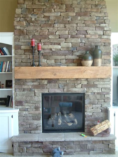 cool wood fireplace mantel ideas with wall stone cover nice grey stacked stone wall fireplace surround design