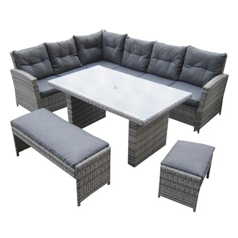 Malmo corner dining set with bench amp stool outside edge metal garden furniture