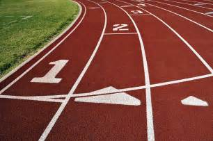 Marathon Tracking Interval On The Track For Fitness And Loss
