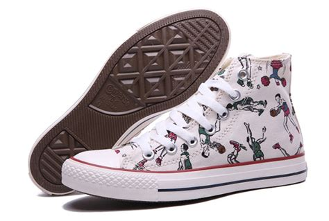 white pattern converse converse play basketball pattern white high tops chuck