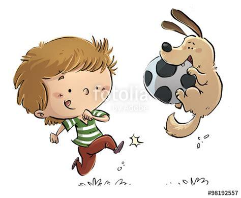 imagenes de niños jugando con un perro quot ni 241 o jugando con perro y pelota quot stock photo and royalty