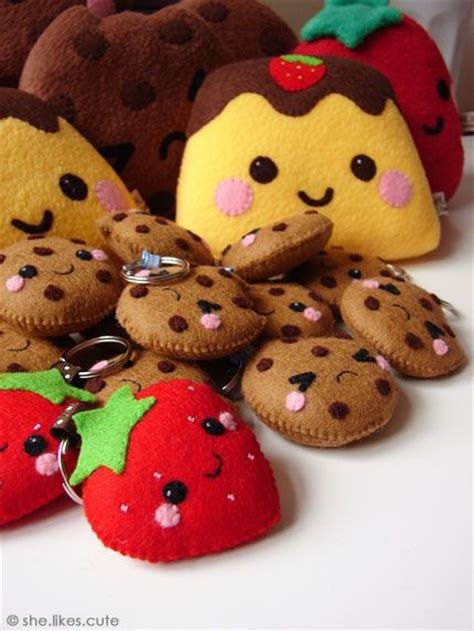 Kerajinan Flanel Cookie Set kawaii cookies and strawberries could make into shopkins maybe crafty stuff