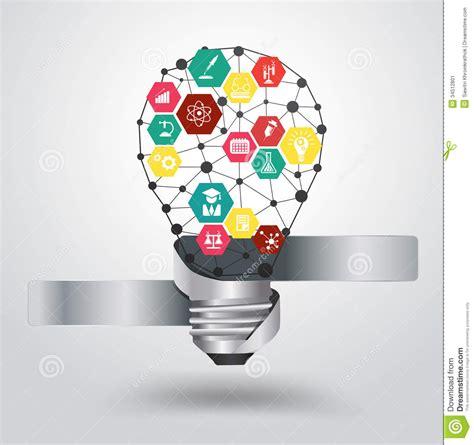 design new idea vector light bulb idea hexagon modern design templ stock