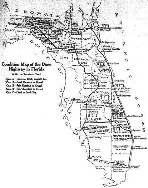 florida county map with highways the dixie highway comes to florida the florida memory