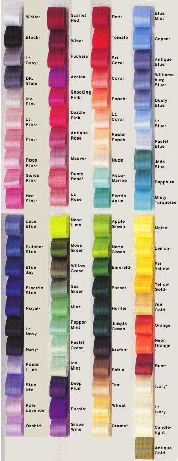 ribbon colors color chart ribbons