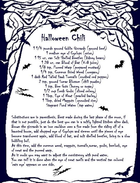 halloween chili recipe halloween pinterest