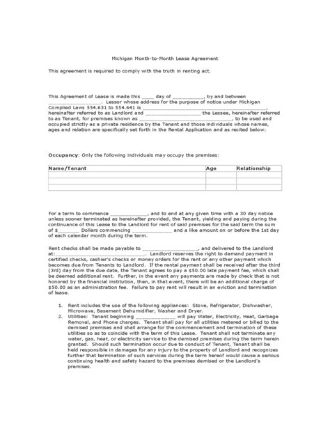 Michigan Rent And Lease Template Free Templates In Pdf Word Excel To Print Rental Agreement Template Michigan