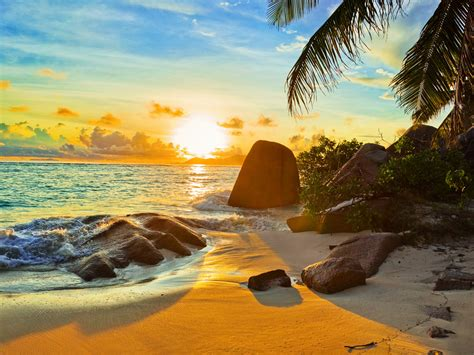 tropical beach  sunset wallpaper hd  wallpaperscom