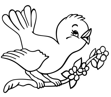 Easy Bird Coloring Page | simple bird free animal coloring sheet for kids