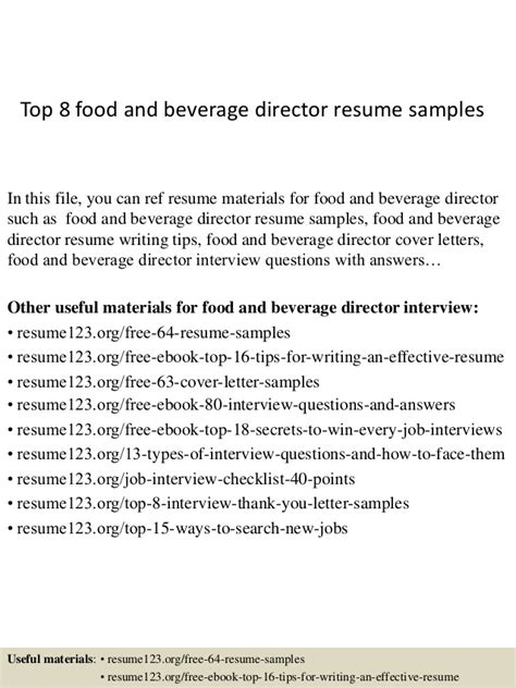 sle resume for food and beverage supervisor resume food and beverage manager 28 images food and