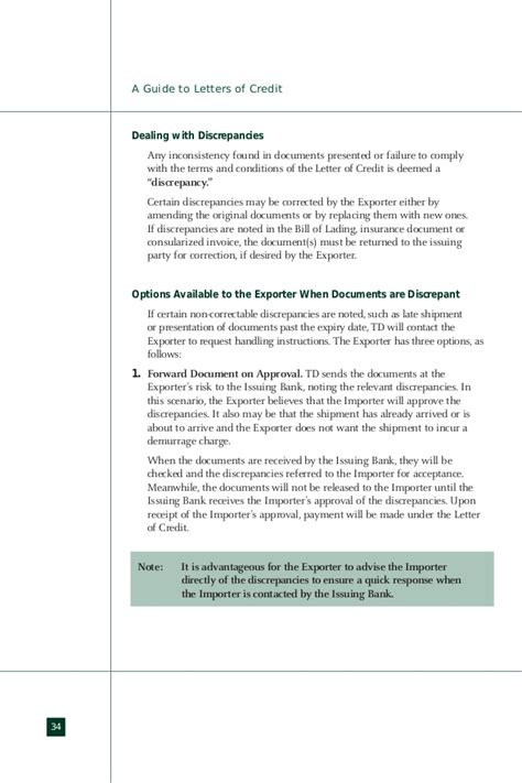 Td Bank Letter Of Credit Fee Import Export Guide Letter Of Credit