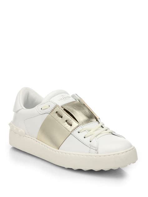 open sneakers lyst valentino open leather low top sneakers in white