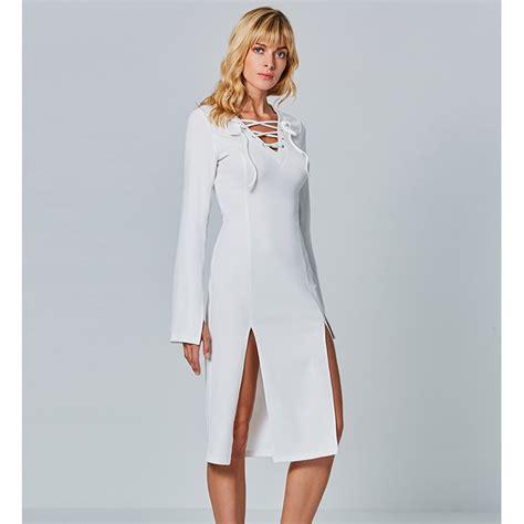 30708 White Informal V Neck Dress Dress Kode Vc6136 1 s white lace up v neck bell sleeve high slit midi dress n15551