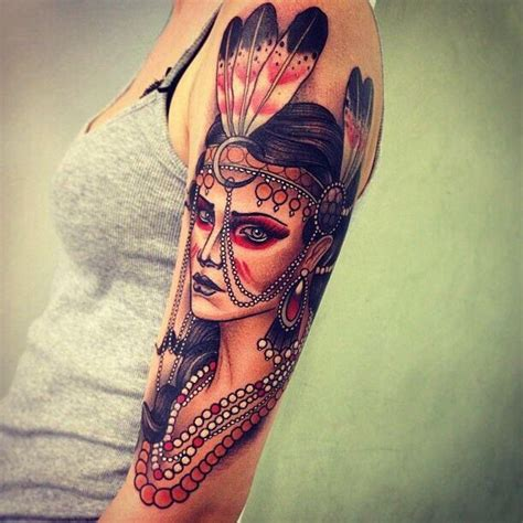 native american woman upper arm tattoo nina 3 inked