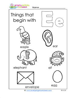 color that begins with e things that begin with e guna alphabet phonics letter