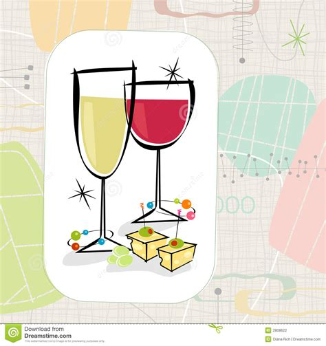 cartoon wine and cheese retro wine and cheese vector stock vector image 2808622