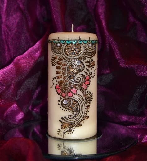 henna design gifts mehndi creations large candle with beautiful mehndi