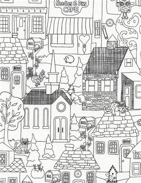 house of fabric white black outline building house fabric by timeless treasures children fabric