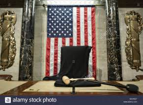speaker of the house of representatives the chair and gavel of the speaker of the house of representatives is stock photo