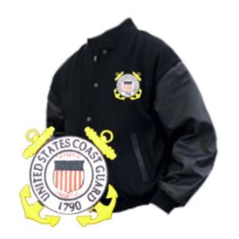 Jaket Varsity Giord Navy Leather varsity legend jacket black with coast guard logo flying tigers surplus