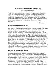 Personal Philosophy Essays by Personal Leadership Philosophy