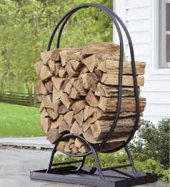 Small Metal Patio Table Portable Outdoor Firewood Storage Rack With Black Metal