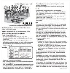 farkle score rules sheet dice games card games family