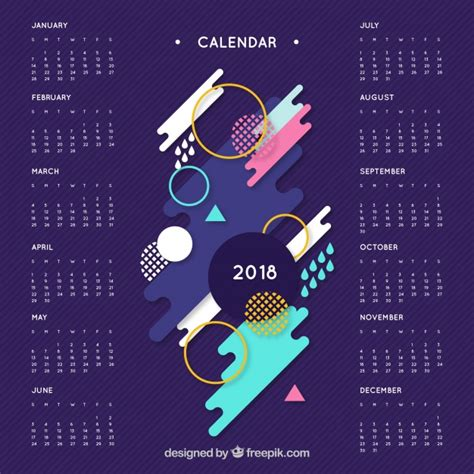 Calendar 2018 Vector 2018 Calendar With Abstract Shapes Of Colors Vector Free