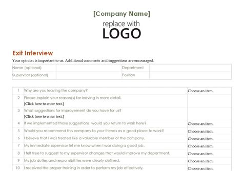 Employee Exit Template Word employee exit template free