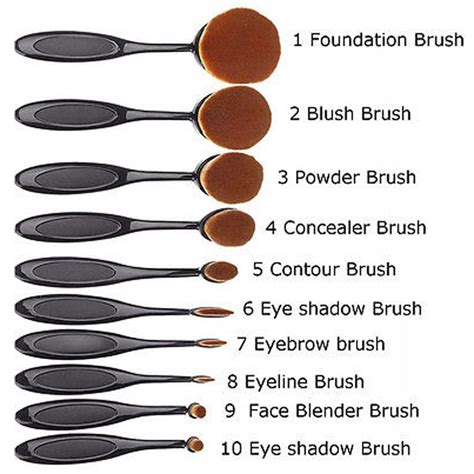 10 Pcs Oval Makeup Brush Set Preorder 10 pcs fashion toothbrush shaped oval puff makeup brushes set kit ebay