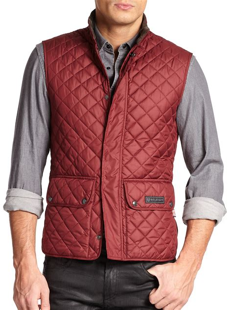 belstaff technical quilted vest in lyst