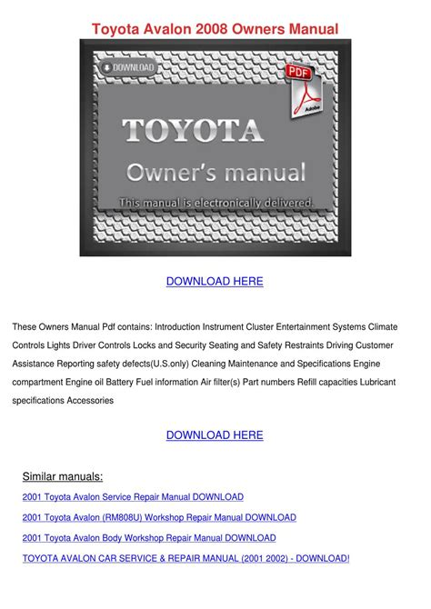 download car manuals pdf free 1996 toyota paseo electronic toll collection toyota avalon 2008 owners manual by winnievenegas issuu