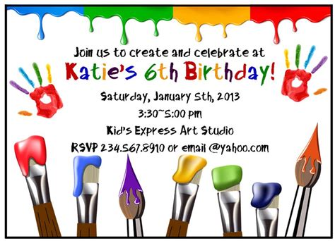 printable art party invitations paint party ideas games and party supplies