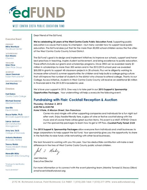 Fundraising Opportunity Letter Ed Fund Fundraiser October 3 2013 Council Of Industries