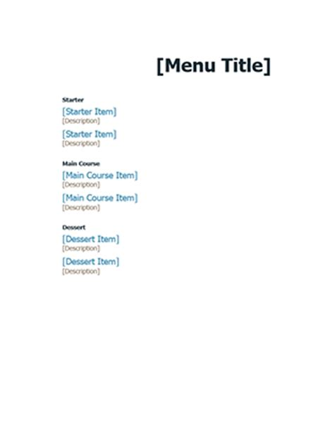 formal event menu office templates