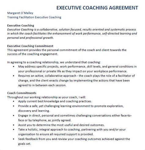 executive coaching agreement template executive agreement 7 free sles exles format