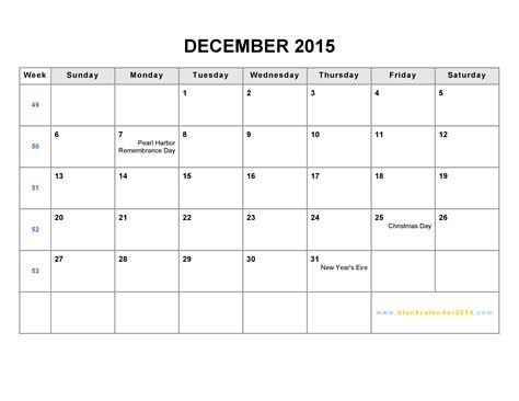 printable monthly calendar for december 2015 9 best images of december 2015 printable week at a glance