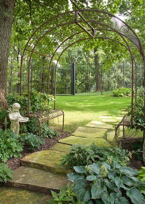 metal arbor with bench wrought iron pergola with benches gardens pinterest