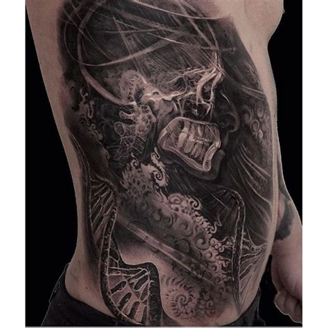 inkside tattoo x style black ink side of human skeleton with