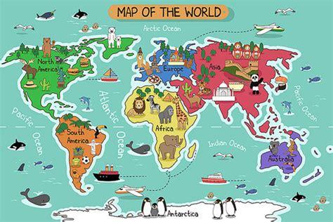 Animal Map Wallpaper Mural Map - children s world map wallpaper removable wall mural animal