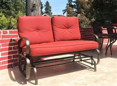 outdoor loveseat glider patio makeover outdoor loveseat glider the complete