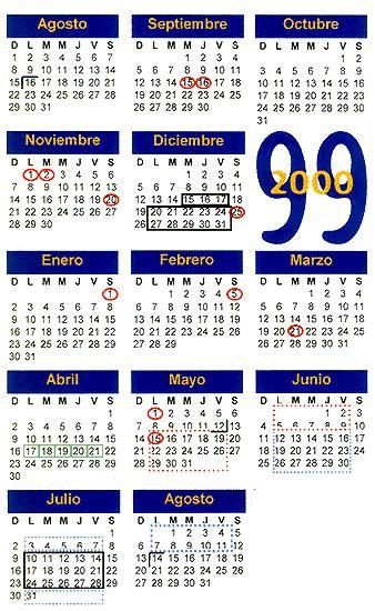 Calendario De 1999 Calendario Escolar Anual 1999 2000