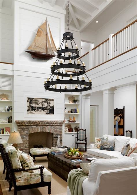 nautical living room two story living room love the light the fireplace just