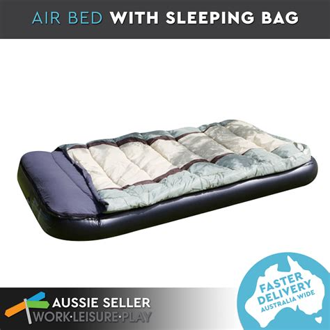 airtime sleeping bag zipped with air bed outdoor cing 190x99x25cm ebay
